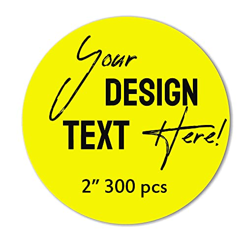 """300 pcs Custom Paper Sticker, Personalized Image,Text,Business Logo,Thank You Labels Sticker (2"""" Round (300 pcs))"""