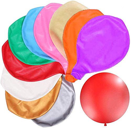 JAHEMU Luftballons Groß 36 Zoll Riesige Bunte Luftballons Helium Latex Ballons Weihnachten Hochzeit Geburtstagsfeier Dekoration 10 Farben