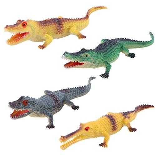 NUOLUX - Figura de cocodrilo de plástico, 4 unidades, diseño de cocodrilo, juguete de animales para fiestas, regalos premios (amarillo verde gris)