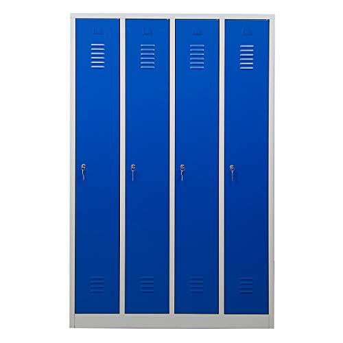 Certeo Garderobenspind | Zylinderschloss | Anschlag rechts | Grau-Blau | Garderobenspind Umkleidespind Spind Schrank Abschließbar