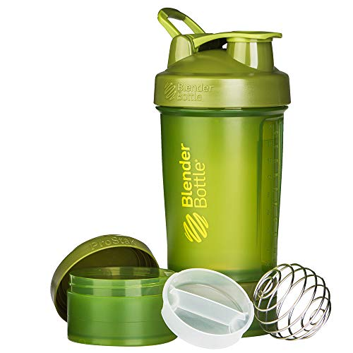 BlenderBottle ProStak System with 22-Ounce Bottle and Twist n' Lock Storage, 22 oz, Moss Green
