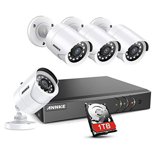 ANNKE Kit de Seguridad 8 Canales DVR de 5MP H.265+ con 1TB Disco Duro de Vigilancia + CCTV 1080P Cámaras Sistema de Videovigilancia IP66 Impermeable Visión Nocturna Silencioso - 1TB HDD