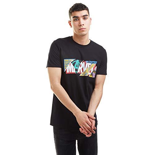 Marvel Scrapbook Logo T-Shirt, Black, X-Large Uomo