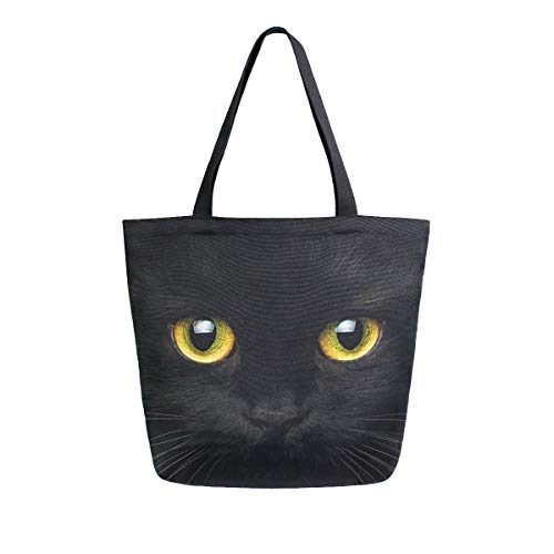 Bolol - Bolsa de lona para mujer, diseño de gato negro, estilo informal, para viajes, viajes, al aire libre, grande, reutilizable