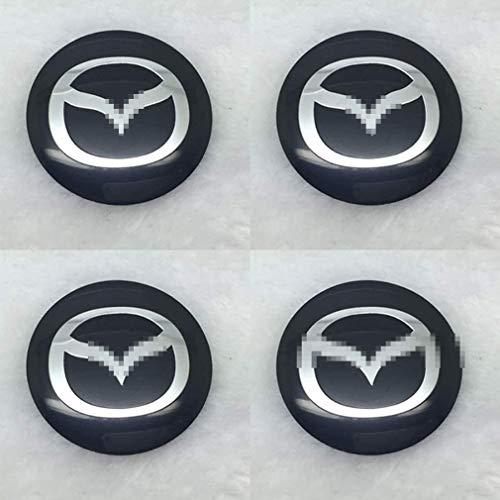 MISSLYY 4 Stück Car Radnabenkappen für Mazda 3 2 6 Atenza Axela Mx3 Mx5 Cx-5 Cx-3,Auto Abzeichen Logo Nabenabdeckungen Staubdicht Styling Zubehör,56mm