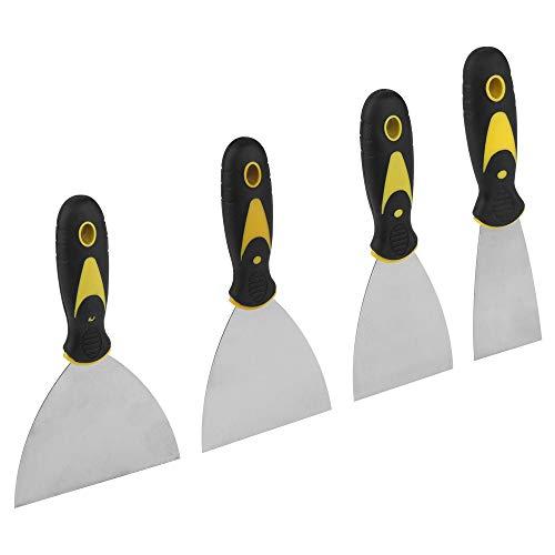 Couteau à Enduire Spatule Bricolage Jeu de Spatules en Acier Inoxydable Couteau à Enduire pour Papier Peint et Murs 50mm 76mm 102mm 120mm 4 Pièces