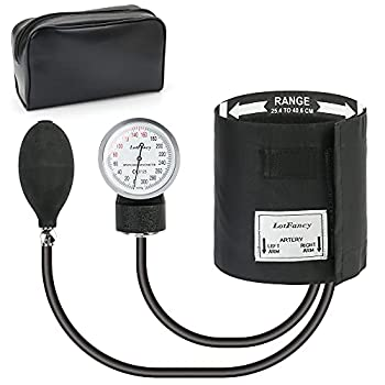 LotFancy Aneroid Sphygmomanometer Blood Pressure Monitors Manual Blood Pressure Cuff with Zipper Case Calibration for Accurate Readings Adult Size Cuff  10 -16   Black