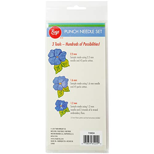Boye Adjustable Length Punch Needle Embroidery Set, 5pc, 1.2mm, 1.6mm, and 2.2mm
