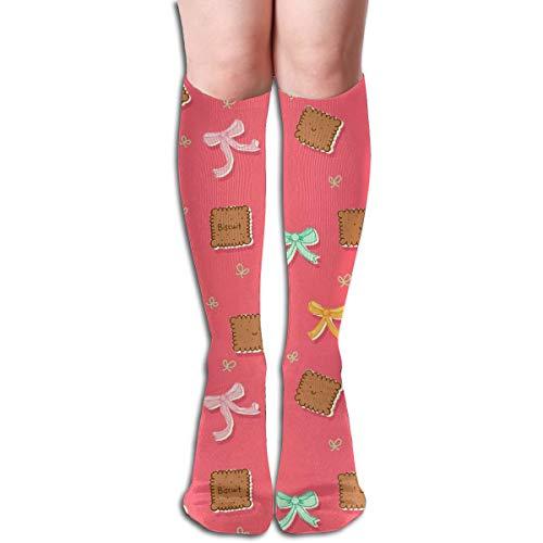 Fun Life Art Kekse und Bögen Rosa Stil Komfortable Erwachsene Kniehohe Socken Gymnastik Outdoor Socken 50cm , 19.7 Zoll
