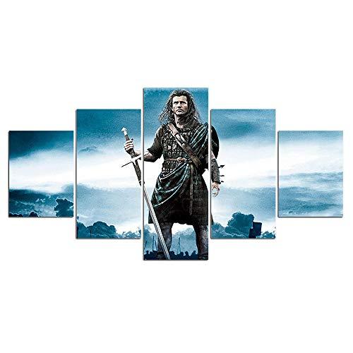 HD Druck 5 Stücke Leinwand Kunst Dekoration Bilder Braveheart Poster Malerei Wandkunst Dekoration für Wohnzimmer-Mit Rahmen