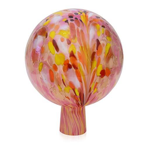 Lauschaer Glas Gartenkugel Rosenkugel aus Glas mit Granulat rosa d 15cm mundgeblasen handgeformt