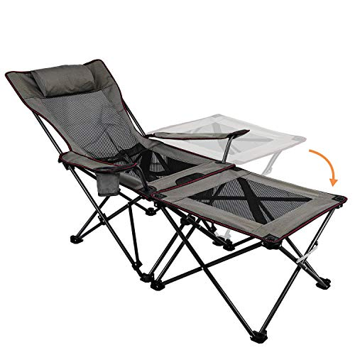 XGEAR Camping Chairs Folding Reclining Portable Chair with Cup Holder Detachable Side Table and Carry Bag