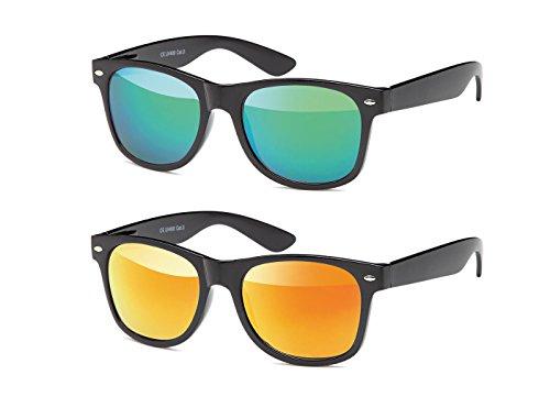 MOKIES MOKIES Unisex Sonnenbrillen - UV400 Filterkategorie 3 CE Kennzeichnung - Polycarbonat - mit Federscharnier - B-SET Grün, Rot