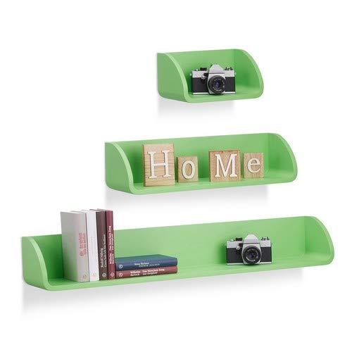 Relaxdays wandrek, set van 3, modern, hangrek, 17 cm diep, voor boeken, dvd's, deco, groen