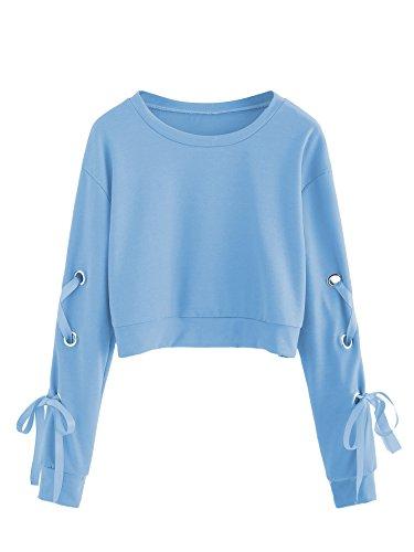 SweatyRocks Women's Casual Lace Up Long Sleeve Pullover Crop Top Sweatshirt Blue Medium