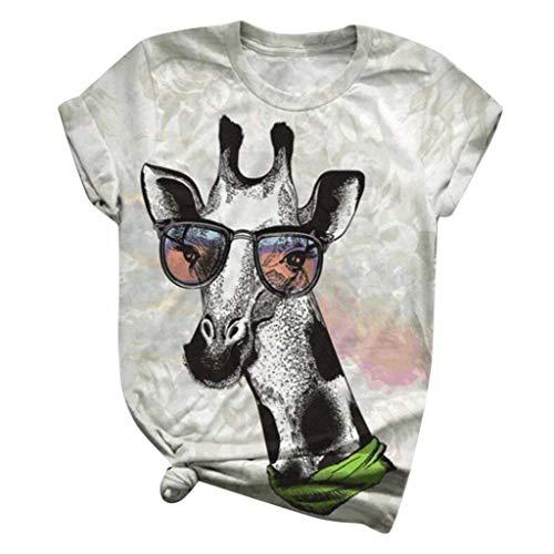 FeelFree+ Camisas y Blusas de Mujer Manga Animal 3D Blusa Casual Basica Camiseta Corta con Cuello Redondo y Estampado Suelto Verano Fiesta T-Shirt Original Tops