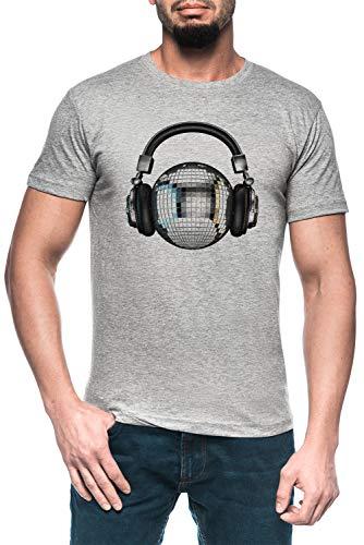 Luxogo Headphone Disco Ball Men's Grey T-Shirt Short Sleeves