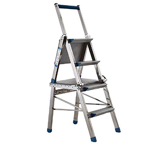 MKJYDM Taburete de Acero Inoxidable Escalera multifunción Escalera Plegable Banco de Escalera de Doble Uso Escalera de Cuatro Pasos Taburete