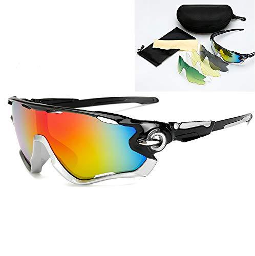JFNX Gafas De Sol Deportivas Polarizadas, UV400 Gafas de Ciclismo con 5 Lentes Intercambiables para Ciclismo, béisbol, Pesca, esquí, Funcionamiento