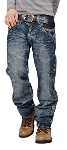 ワインレッドステッチ ストレートデニムパンツ ジーンズ メンズ Lサイズ ブルー