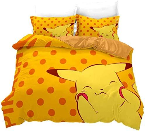 AQEWXBB Juego de ropa de cama con impresión digital 3D, diseño de Pokémon, supersuave y cómodo, juego de ropa de cama de alta calidad Pokémon para niños (Pokémon 6,135 x 200 cm + 50 x 75 cm x 2)