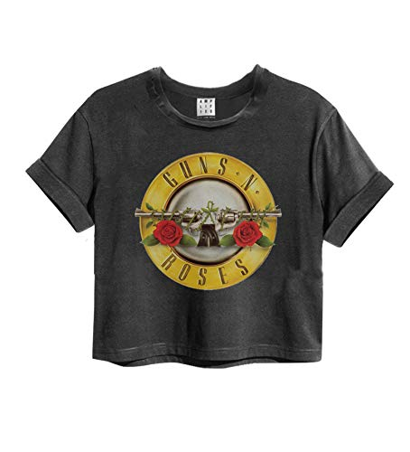 Amplified Crop Top Damen T-Shirt (Guns 'N Roses Bullet - Charcoal, S)