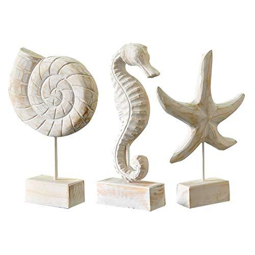 Fittoway 3 piezas de madera mediterránea escultura Conch Starfish Seahorse Retro Adornos creativos modernos para la decoración del escritorio de la casa o la oficina
