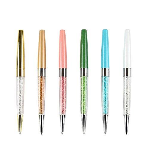 MengRan Bling Bling Chaton Slim Crystal Diamond Ballpoint Pen (Pack of 6)