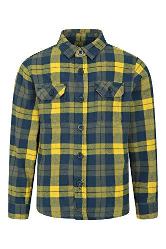 Mountain Warehouse Camisa de Franela Check para niños - 2 Bolsillos en...
