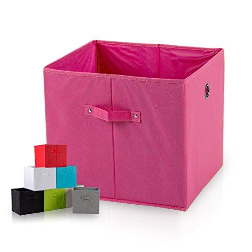 diMio SB1 Faltbox in Pink (4er Pack) - Regalfach Aufbewahrungsbox mit Trageschlaufen und Fingerloch, extra tief für noch mehr Stauraum