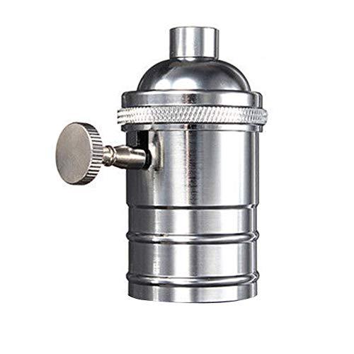 Retro-Lampenfassung, E26/E27, Antikes Kupfer, Messing, Edison-Lampenfassung mit An/Aus-Schalter, ES-Schraubschalter, Hängelampenfassung Retro Free Size silber