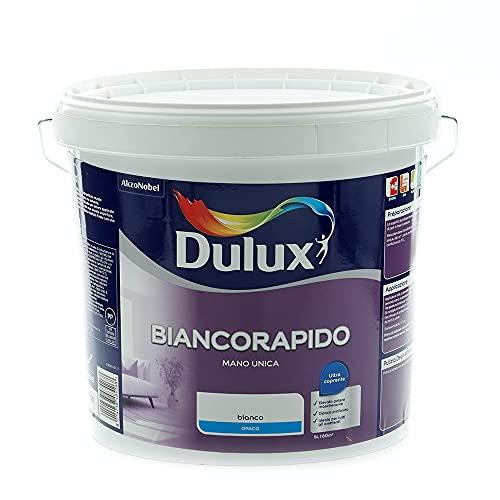 Dulux Biancorapido Pittura per Interni a Mano Unica Bianco Coprente per Camere Soggiorni, 5 Litri, Bianco