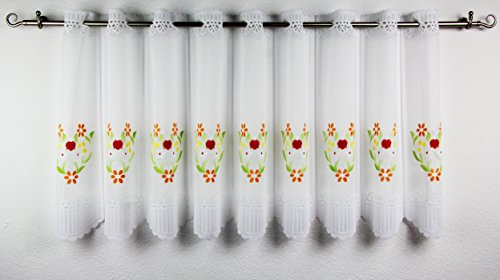 'moderne Gute Laune–Tenda 'Color Flower Time con asta–Individualmente in der completamente regolabile–Campo misura 15cm larghezza–kurzstore, Bianco Voile con tipica casa di campagna–Motivi–aufwaendig coloriert–(ca H/B 45x 135cm)–Nuovo–anche una molto bella idea regalo