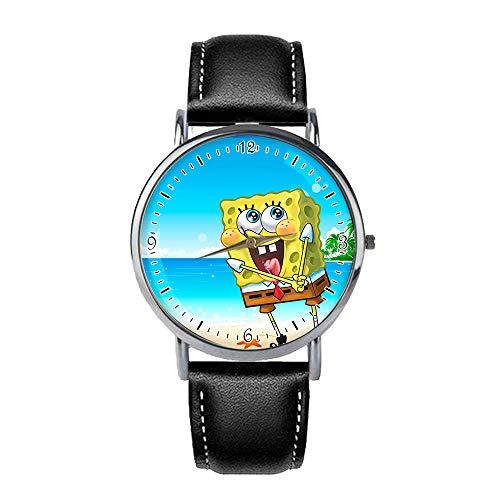 Quyuhgek Spongebob Squarepants Weinlese-Quarz-Taschen-Klassische Uhr-Arabisch-Digital-Skala-Uhr mit mechanischer Taschen-Uhr-Edelstahl-Offener Taschen-Uhr (Color : A01, Size : OneSize)