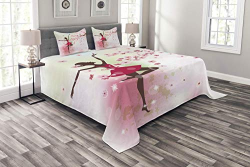 YnimioHOB Butterfly Bedspread, Fairy Ballerina Princess Dancer Floral Branch with Floral Petals, Decorative Quilted 3 Piece Coverlet Set with 2 Pillow Shams,Rose Pink