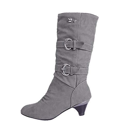 Westernstiefel Winterstiefel Damen,Elecenty Frauen Gürtelschnalle Stiefel rutschfest Trichterabsatz Stiefeletten Mittellange Lederstiefel Boots
