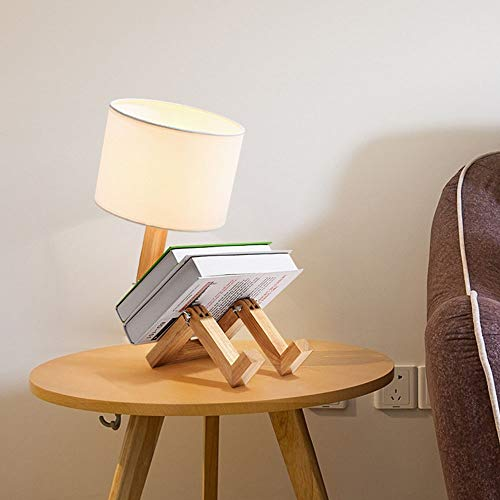 BICCQ lámparas de araña Estilo Nórdico.LED Mesa De Madera Maciza Robot Luz Simple Morden Tela Pantalla E27 (Color : Luz Calida)