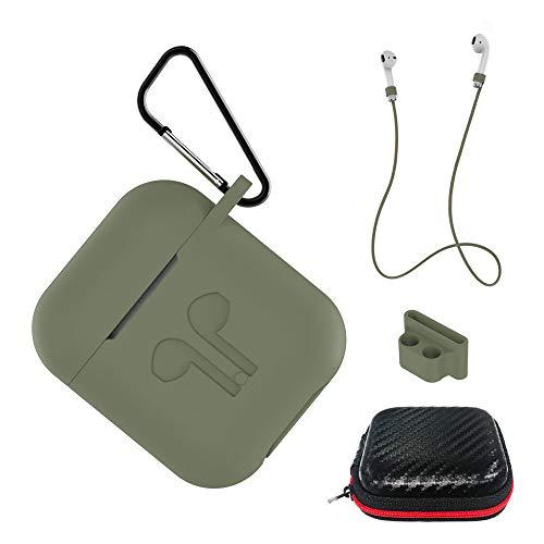 AICEK Custodia Compatiblile con AirPods 1 & 2 Cover Silicone Case per Apple AirPods Protective Accessori con Moschettone,Earpod Cover Verde Oliva