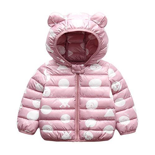 Bambini Invernale Piumino, Cappotto con Cappuccio Snowsuit Manica Lunga Outfits Giubbotto Giacca Outwear Vestiti Regalo 1-2 Anni,Rosa