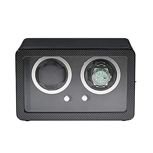 Soporte de reloj Reloj Winders - Coctelera de reloj de fibra de carbono negro con marco de puerta Reloj mecánico Dispositivo de bobinado automático Motor silencioso Reloj de relojería Reloj de