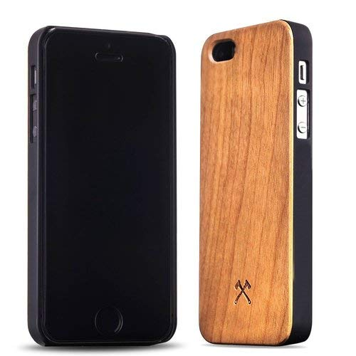 Woodcessories - Hülle kompatibel mit iPhone 5/ 5s/ SE (2016) aus Echtholz - EcoCase Classic (Kirsche/Schwarz)
