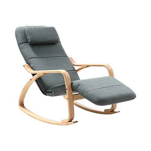 Modern Fabric Rocking Chair, Durable Rocking Accent Chair, Hardwood Rocking Chair with Sturdy Rubber Wood Legs and Armrests/Soft Headrest