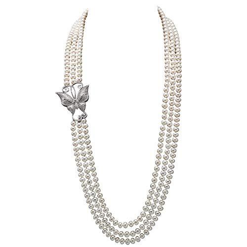 JYX AAA Lange Perlenkette Perle Dreifach Strang Halskette AAA + Qualität 7,5-8mm Süßwasser Zuchtperlen Opern Halskette