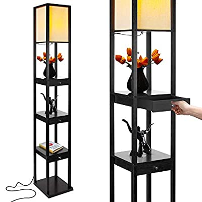 Brightech Maxwell LED Drawer Edition Shelf Floor Lamp - Modern Asian Style Standing Lamp with Soft Diffused Uplight White Shade- Wooden Frame with Open Box Display Shelves & Drawers