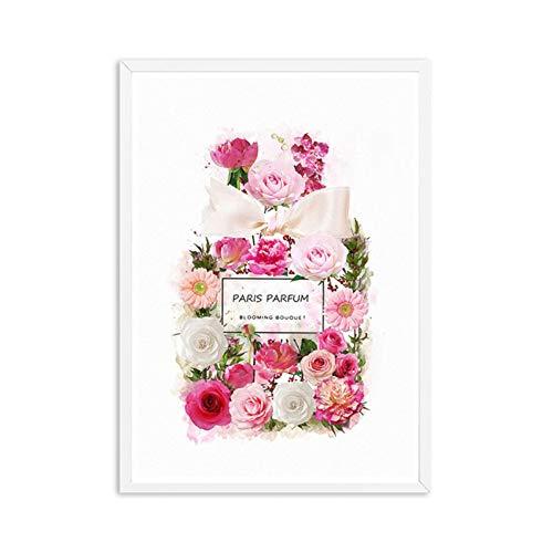 RuiChuangKeJi Posters en Prints Moderne Mode Bloem Parfum Fles Bloom Rose Art Canvas Schilderij Muur Foto's Kamer Thuis Decor60x80cm Geen Frame