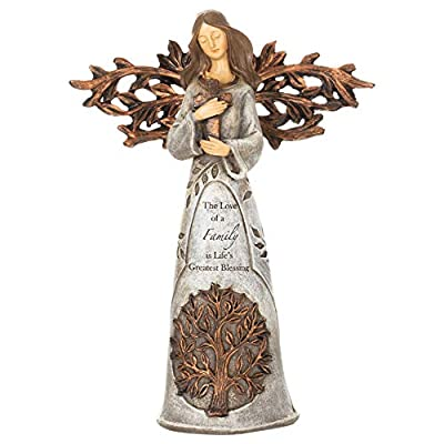 Angel Holding Cross Natural Brown 9 x 6 Resin Stone Collectible Figurine