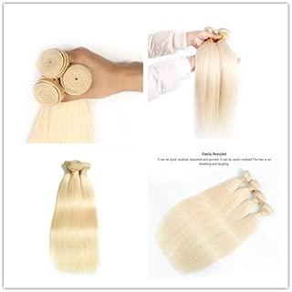 DaJun Blonde Hair Bundles Platinum Blond Hair Weave #613 Natural Straight wefts 100g/pc #1b/613 100% Brazilian Remy Human Hair Extensions 10