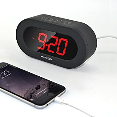 Reacher Easy Snooze and Time Setting Digital Alarm Clock, Charging Station Phone Charger with USB Port, Battery Backup for android phone iphone tablet ipad (Black)