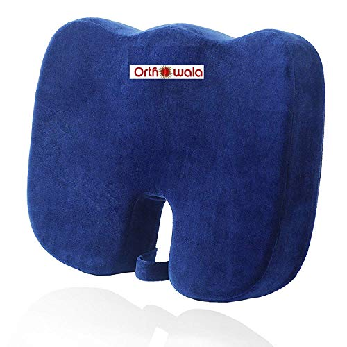 Orthowala ® Coccyx Seat Cushion For Sciatica, Coccyx, Orthopedic, Tailbone And Back Pain Relief