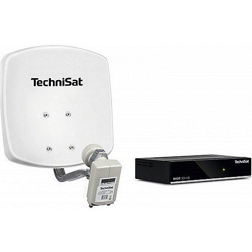TechniSat DIGIDISH 33 – Satelliten-Schüssel Komplettset mit HD Receiver (33 cm Sat-Anlage mit Wandhalterung, Universal Twin-LNB für bis zu 2 Teilnehmer, 10 m Kabel und Sat-Receiver)weiß